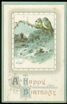 Victorian Happy Birthday Postcard Bluebirds and Snow