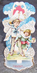 Victorian Fold Out Valentine Of Little Boy and Girl
