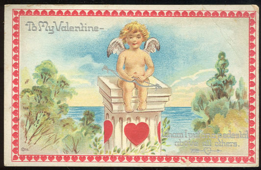 Valentine Postcard of Cherub With Bow on Pedestal
