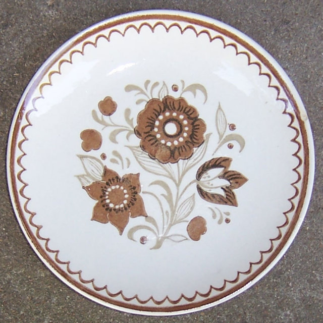 Vintage Brown Floral USA Pottery Small Plate