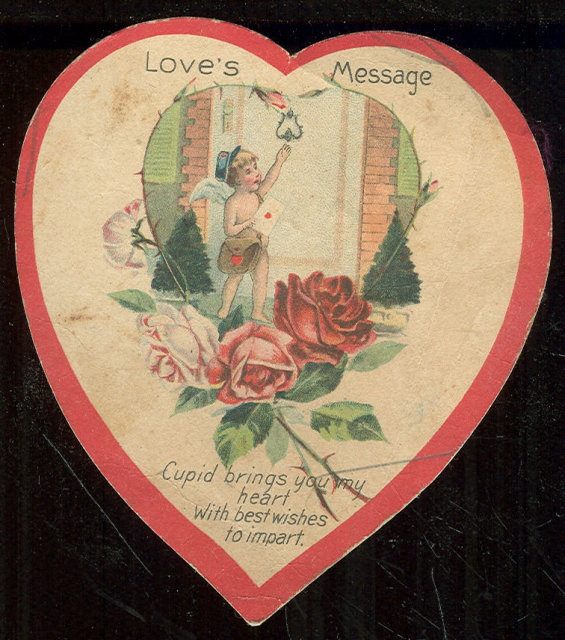 Vintage Heart Valentine Cupid Brings Love's Message