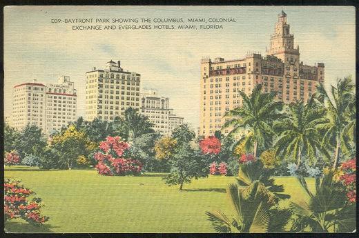 Postcard of Bayfront Park Showing Hotels, Miami, Florida 1945