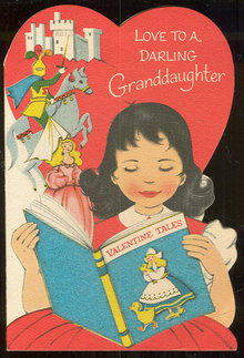 Vintage Darling Granddaughter Valentine Card with Fuzzy Book