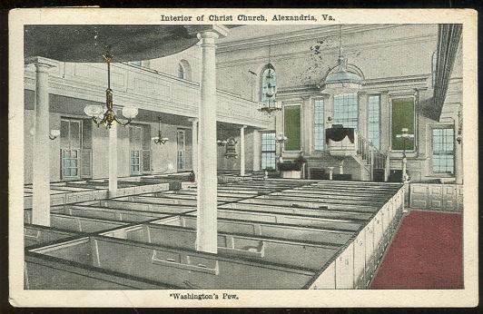 Postcard of Washington's Pew, Interior of Christ Church, Alexandria, Virginia