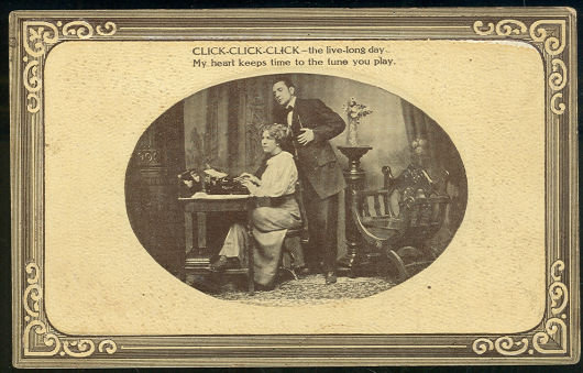 Postcard of Victorian Courting Couple with Lady Typing