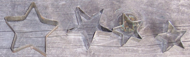 Vintage Set of Four Star Tin Cookie Cutters