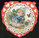 Vintage Heart Valentine Card Baby Chasing a Butterfly