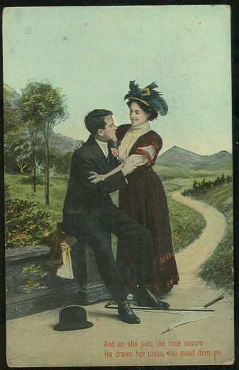 Postcard of Victorian Courting Couple She Pins the Rose