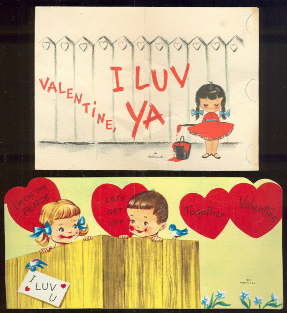 Two Vintage Valentines With Fences and Little Kids