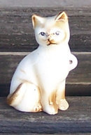 Vintage Pottery Seated Cat White with Brown Highlights