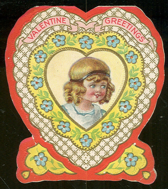 Heart Shaped Vintage Valentine Card with Little Girl