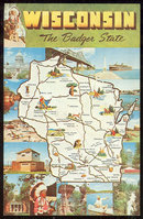 Map Postcard of Wisconsin, The Badger State