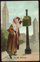 Postcard Victorian Lady Mailing a Letter To My Affinity