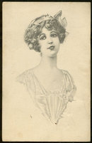 Postcard of Lovely Victorian Lady With Ribbon