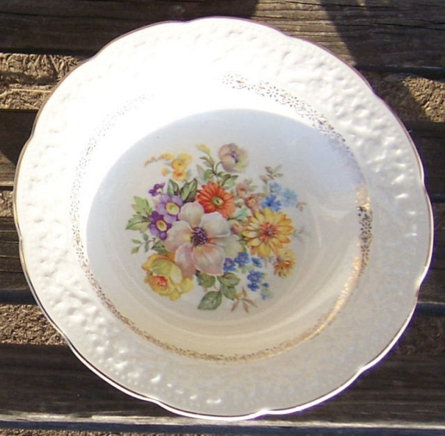 Knowles Soup Bowl with Floral Bouquet and Gold Trim