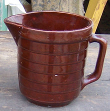 Vintage Brown Glaze Pottery Batter Jug USA