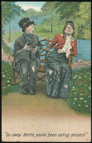 Postcard of Lovely Couple on Park Bench, Go Away Bertie
