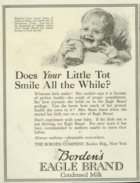 Borden's Eagle Brand Milk 1921 Magazine Advertisement