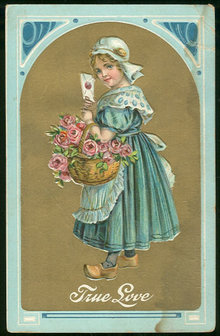 Little Dutch Girl with Basket of Roses