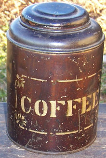 Japanned Brown Coffee Canister with Stenciled Letters
