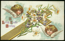 Religious Easter Postcard with Cross and Angels