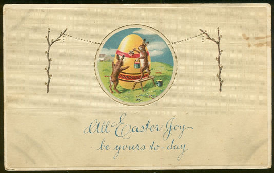 Easter Postcard with Easter Bunnies Painting Egg 1917