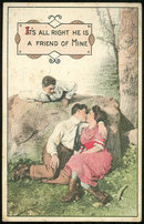 Postcard of Kissing Couple with Friend Looking On 1914