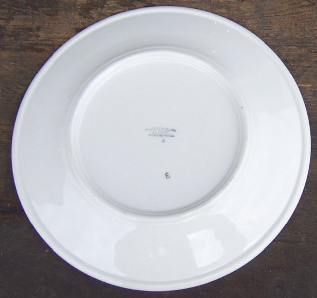 Sterling China White and Red Dinner Plate