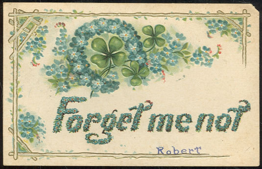 Forget Me Not Postcard With Four Leaf Clovers