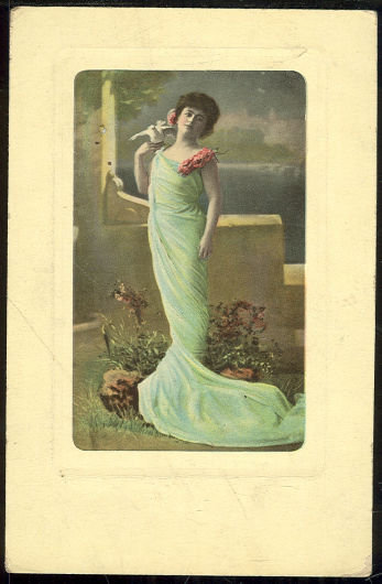 Postcard of Lovley Lady in Blue Dress with Dove