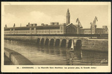 Postcard of New Harbour Station, Cherbourg, France