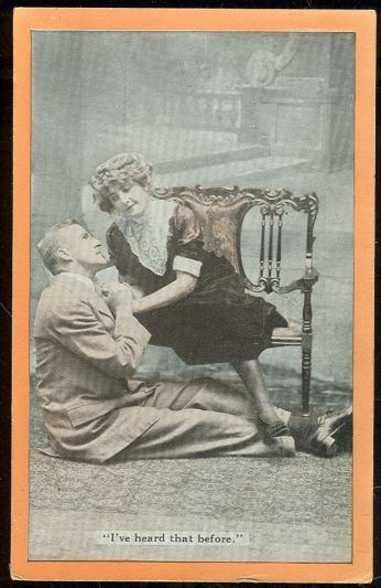 Postcard of Victorian Courting Couple Heard That Before