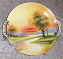 Handpainted Nippon Serving Plate with Sunset Scene