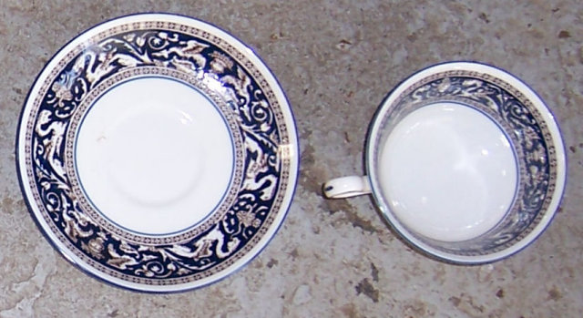 Vintage Wedgwood Floritine Cobalt Cup and Saucer
