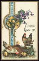 Joyful Easter Postcard with Chickens and Chicks