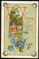 Wishing You a Joyful Easter Postcard Pastoral Scene