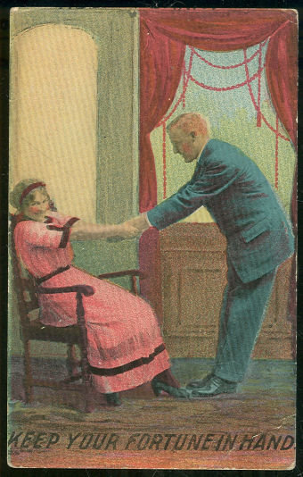Postcard of Victorian Couple Keep Your Fortune in Hand