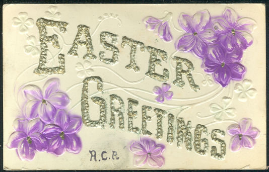 Embossed Easter Greetings Postcard with Purple Flowers