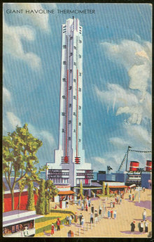 Century of Progress Postcard Giant Havoline Thermometer