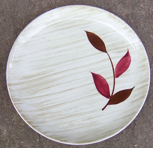 Vintage Stetson Pottery Small Plate Red Leaf Design