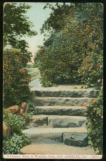 Postcard of Flowery Nook Westlake Park Los Angeles CA