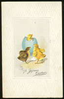 Joyous Easter Postcard with Chicks and Easter Egg 1917