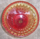 Red and Yellow Glass Footed Comport with Diamond Design