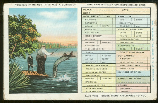 Time Savers Easy Correspondence Postcard Men Fishing