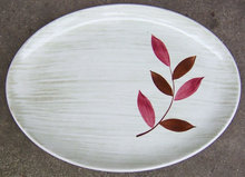 Vintage Stetson Pottery Serving Platter Red Leaf Design