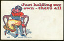 Comic Postcard Kissing Couple Man is Holding His Own