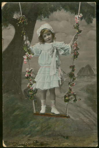 Birthday Postcard With Little Girl in Flower Swing
