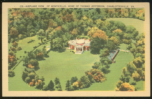 Postcard of Airplane View of Monticello, Virginia