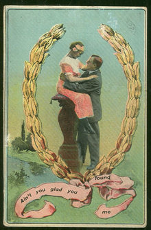 Postcard of Victorian Courting Couple You Found Me 1913