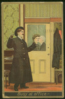 Postcard of Kissing Working Couple, Busy at Office 1911